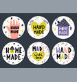 hand made stickers set with lettering vector image