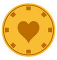 hearts suit gold casino chip vector image vector image