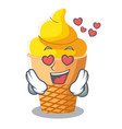 in love banana ice cream in shape cartoon vector image vector image