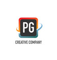 Initial letter pg swoosh creative design logo