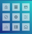 interface icons line style set with datacenter vector image