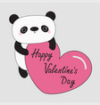 kawaii panda babear happy valentines day cute vector image