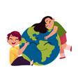 kids hugging smiling globe earth planet character vector image vector image