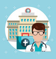 man doctor with medical services icons vector image