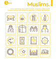 muslim color linear icons set vector image vector image