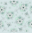 pattern with blue doodle flowers and branches vector image vector image