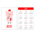 pig in red santa hat holding candy cane sock vector image