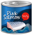 pink salmon in aluminum can vector image vector image