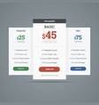 Pricing table with three plans for websites vector image vector image