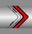 red arrow direction on silver black line vector image vector image