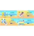 relaxation on beach in summertime poster vector image vector image