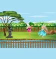 scene with witch and fairies in park vector image vector image