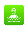 scuba diver man in diving suit icon digital green vector image