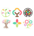 set of logos of the trees abstract leaves icons vector image