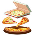 set of pizza on white background vector image vector image