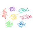 Set of seven colorful aquarium fishes vector image vector image