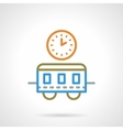 Simple color line train time icon vector image vector image