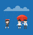 single businesswoman walking under the rain while vector image