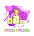 successful idea pedestal with prize cup abstract vector image