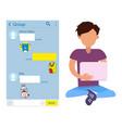 teenage boy teenager chatting kakaotalk messenger vector image vector image