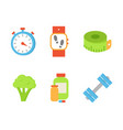 time timer and broccoli set vector image vector image