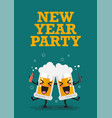 two drunk beer glasses character new year party vector image