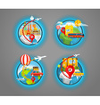 Vacation travelling icons collection travel vector image vector image