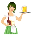 waitress holding tray with beer mug vector image vector image