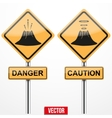 Warning road signs about the dangers of volcano