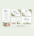 wedding floral invite thank you rsvp label cards vector image vector image