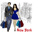 young man and woman in new york vector image vector image