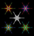 a set of hexagonal colorful stars with long ends vector image