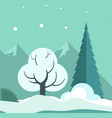 winter landscape with trees and ground in snow vector image
