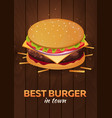 lunch with burger fast food poster vector image