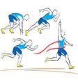 Set of running man crossing the finishing line vector image