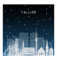 winter night in tallinn night city in flat style vector image