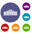 airport building icons set vector image vector image