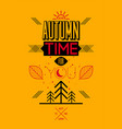 autumn time retro typographical poster design vector image