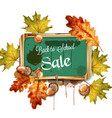 back to school sale chalk board and autumn leaves vector image vector image