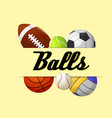 balls sport balls yellow background image vector image vector image
