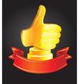 best choice award - golden hand vector image vector image