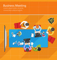 business meeting top view office teamwork flat vector image