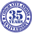 Congratulations 35 years anniversary grunge rubber vector image vector image