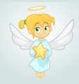 cute christmas angel holding a star vector image vector image
