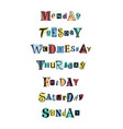 days of the week on colorful shapes vector image