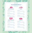 delicious seafood - drawn template menu vector image