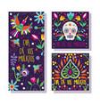 dia de los muertos set cards icons vector image vector image