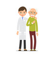 doctor and patient practitioner doctor man stands vector image vector image