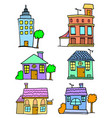 doodle of house set collection stock vector image vector image