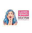 excited beautiful woman with blue hair and open vector image
